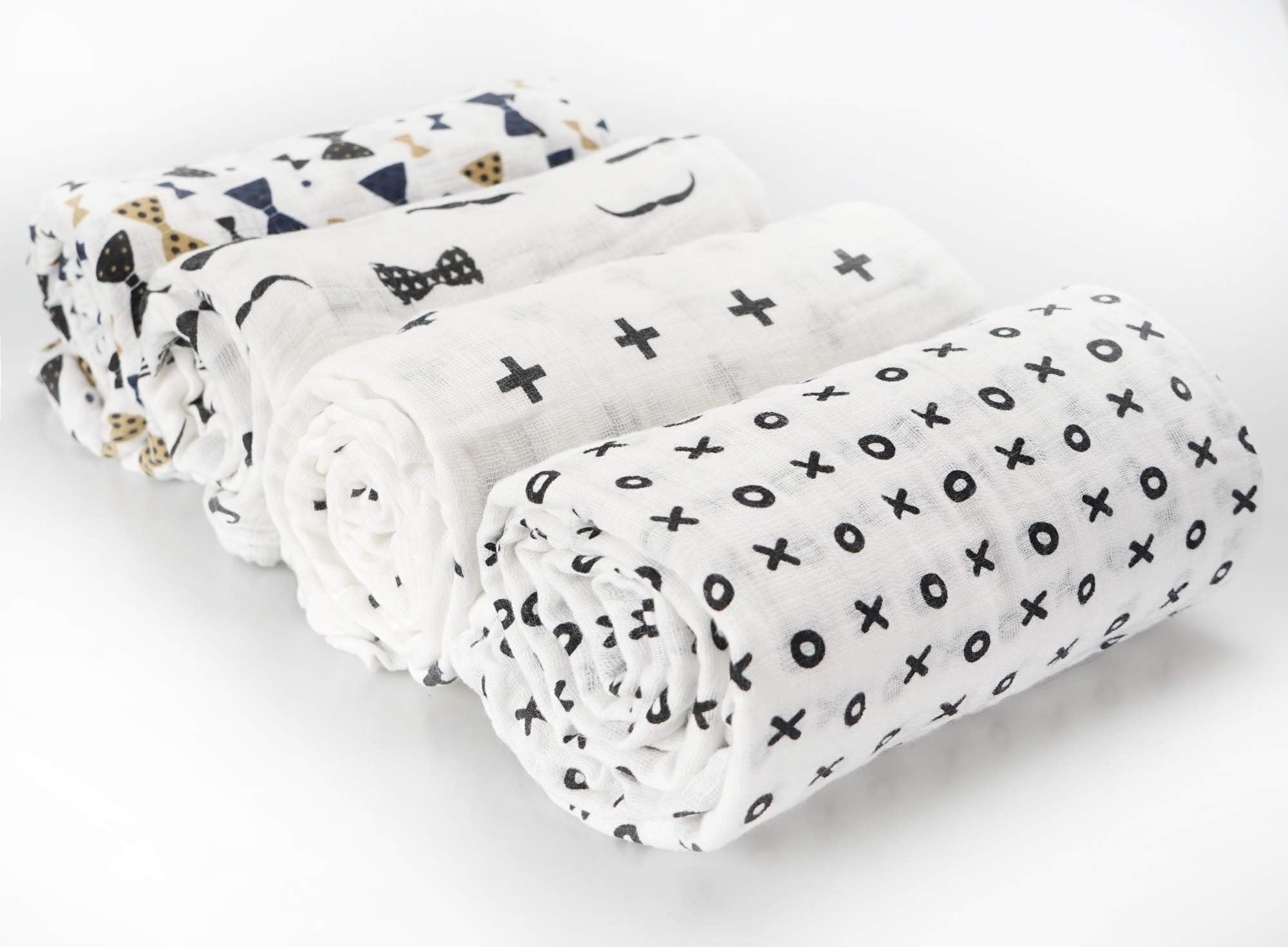 CozyWay Baby Muslin Swaddle Blankets – Baby Cotton Blanket Boys/Girls/Unisex 4 Pack, Swaddle Wrap, Receiving Blankets, Bath Towel, Newborn Shower Gifts, 47x47 (Bowtie & Moustache)