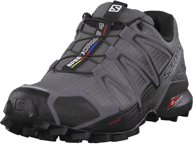 Salomon Men's SPEEDCROSS 4 Trail Running Shoes, Dark Cloud/Black/Pearl Grey, 8