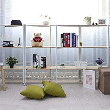 4 Shelf Bookshelf Mobile White Bookcase 5512 Inch Wide Standing Storage Rack Shelving