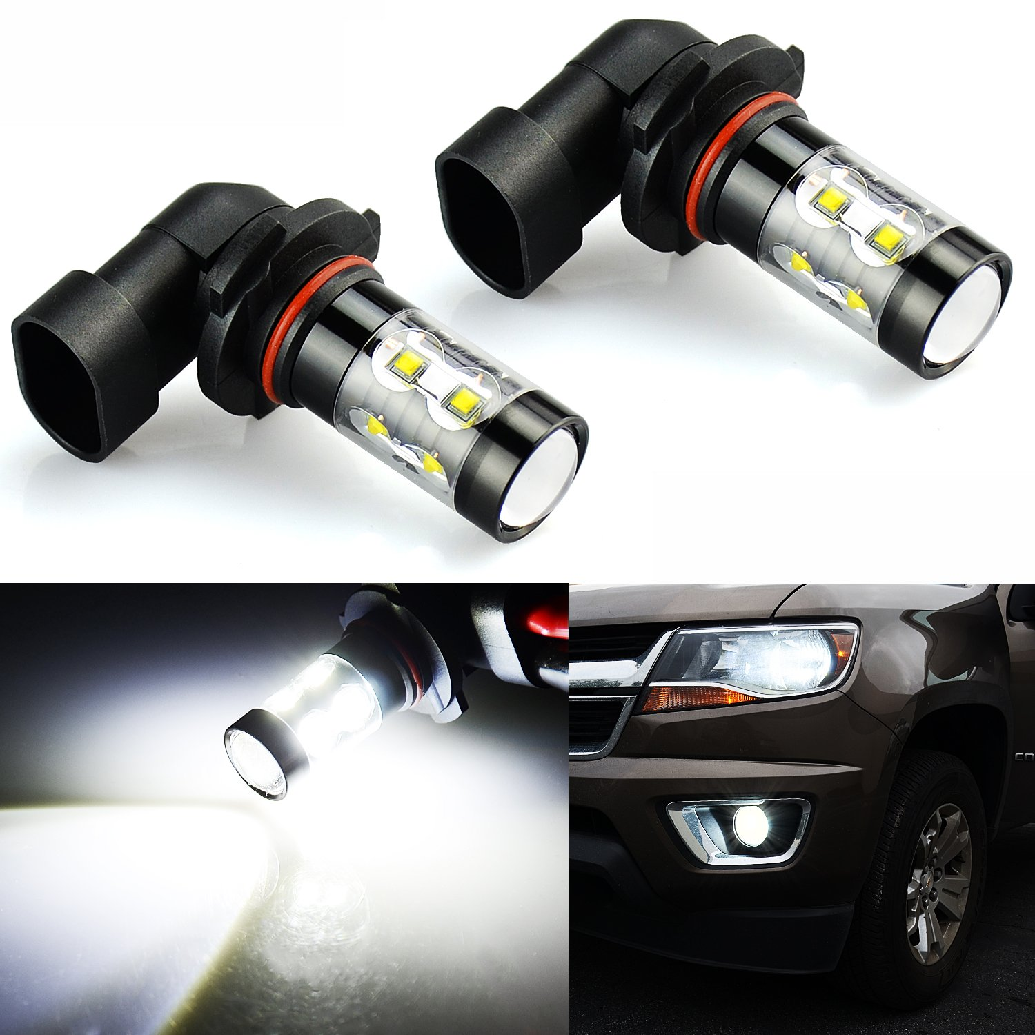 JDM ASTAR Extremely Bright 2600 Lumens Max 50W High Power H10 9145 LED Fog Light Bulbs for DRL or Fog Lights, Xenon White