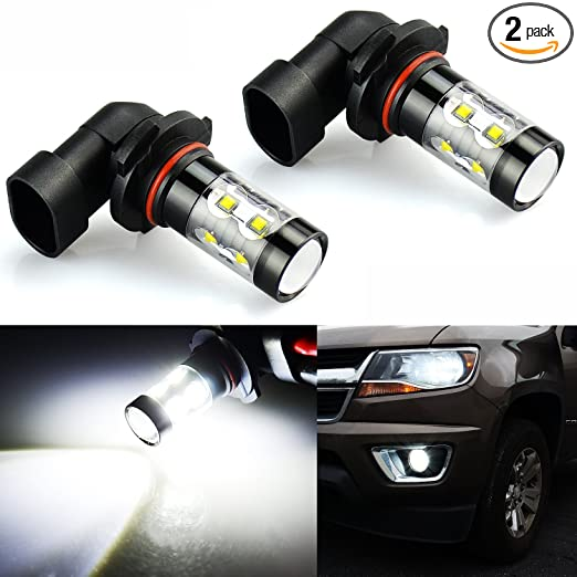 JDM ASTAR Extremely Bright Max 50W High Power 9006 LED Fog Light Bulbs for DRL or Fog Lights, Xenon White