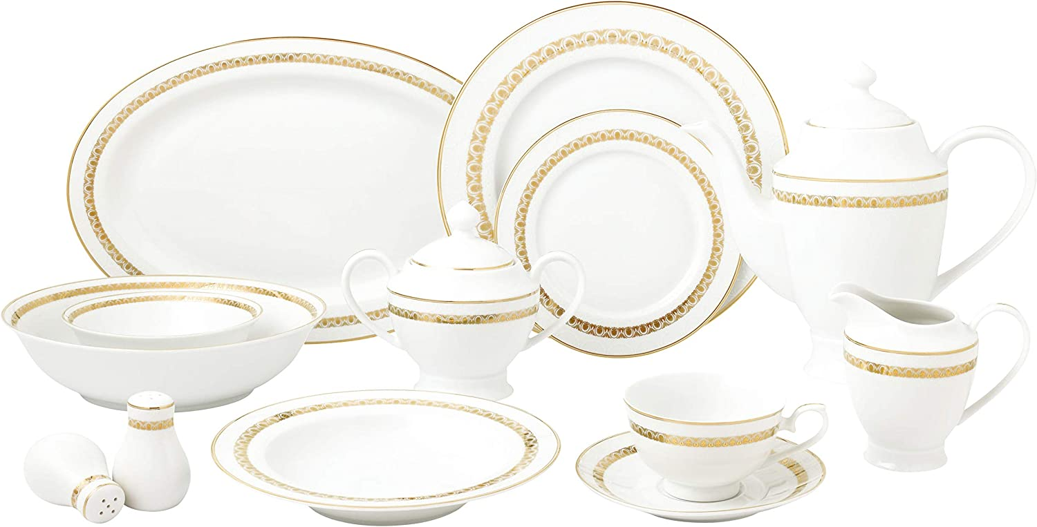 Lorren Home Trends Caramel-57 Dinner Sets for gatherings, One Size, Gold