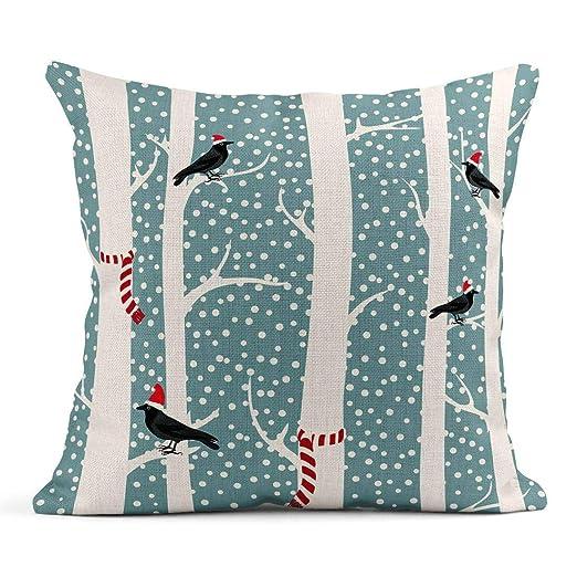 Cojín Azul Nieve Cuervos Negros Sombreros navideños Árboles ...