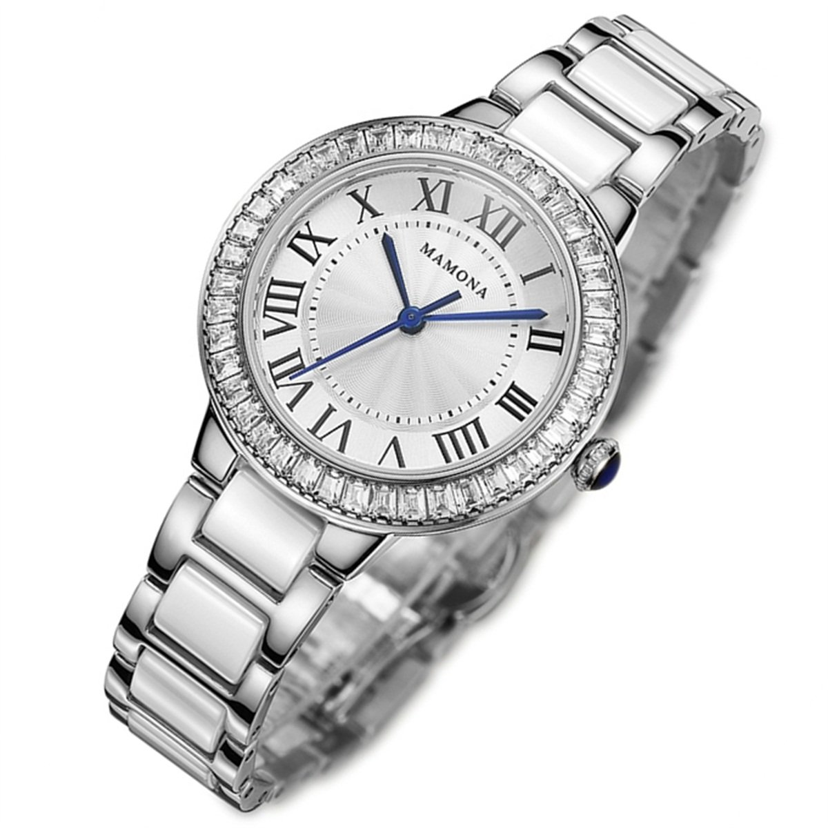 MAMONA Women's Quartz Watch Crystal Accented Ceramic and Stainless Steel White and Silver L68008SR