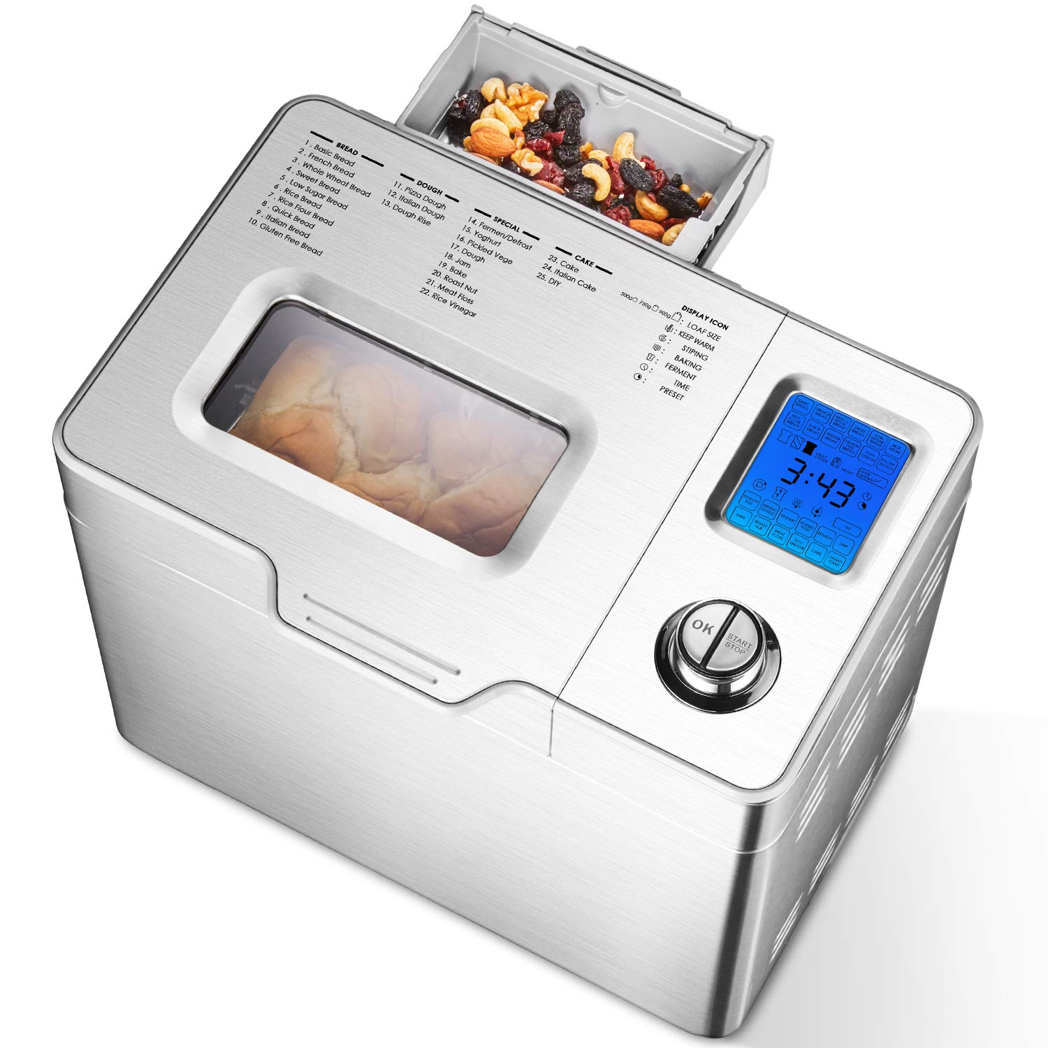 Aicok 2LB Custom Loaf Bread Maker, 25-In-1 Automatic Programmable Bread Machine, Large LCD Display, Fruit Nut Dispenser