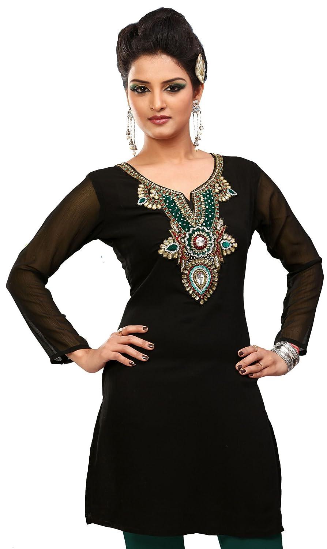 Amazon.com: Designer Long India Tunic Top Womens Kurti Party Dress ...