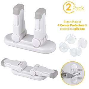 AZbébé Baby Proof Lever Lock | Door & Cabinet Locks for Children Safety | Use for Bathroom, Toilet, Bedroom, Kitchen & Closet | Child-Proof Your Home with Ease (Lever Locks)
