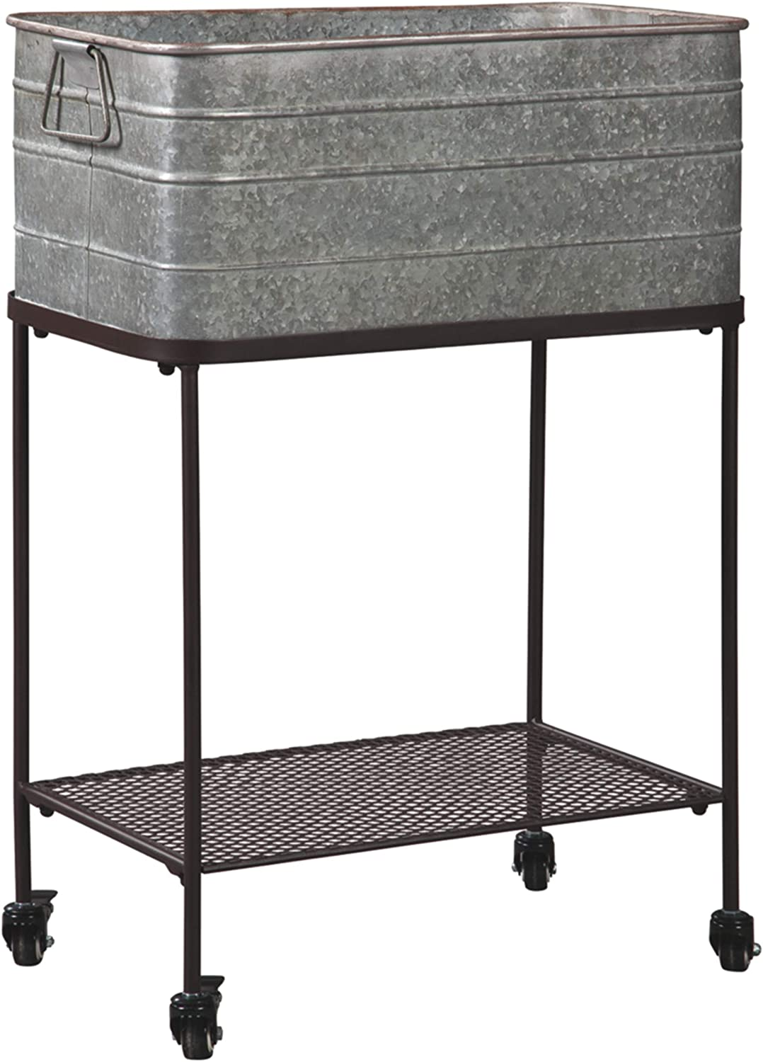 Signature Design by Ashley - Vossman Beverage Tub - Antique Gray/Brown