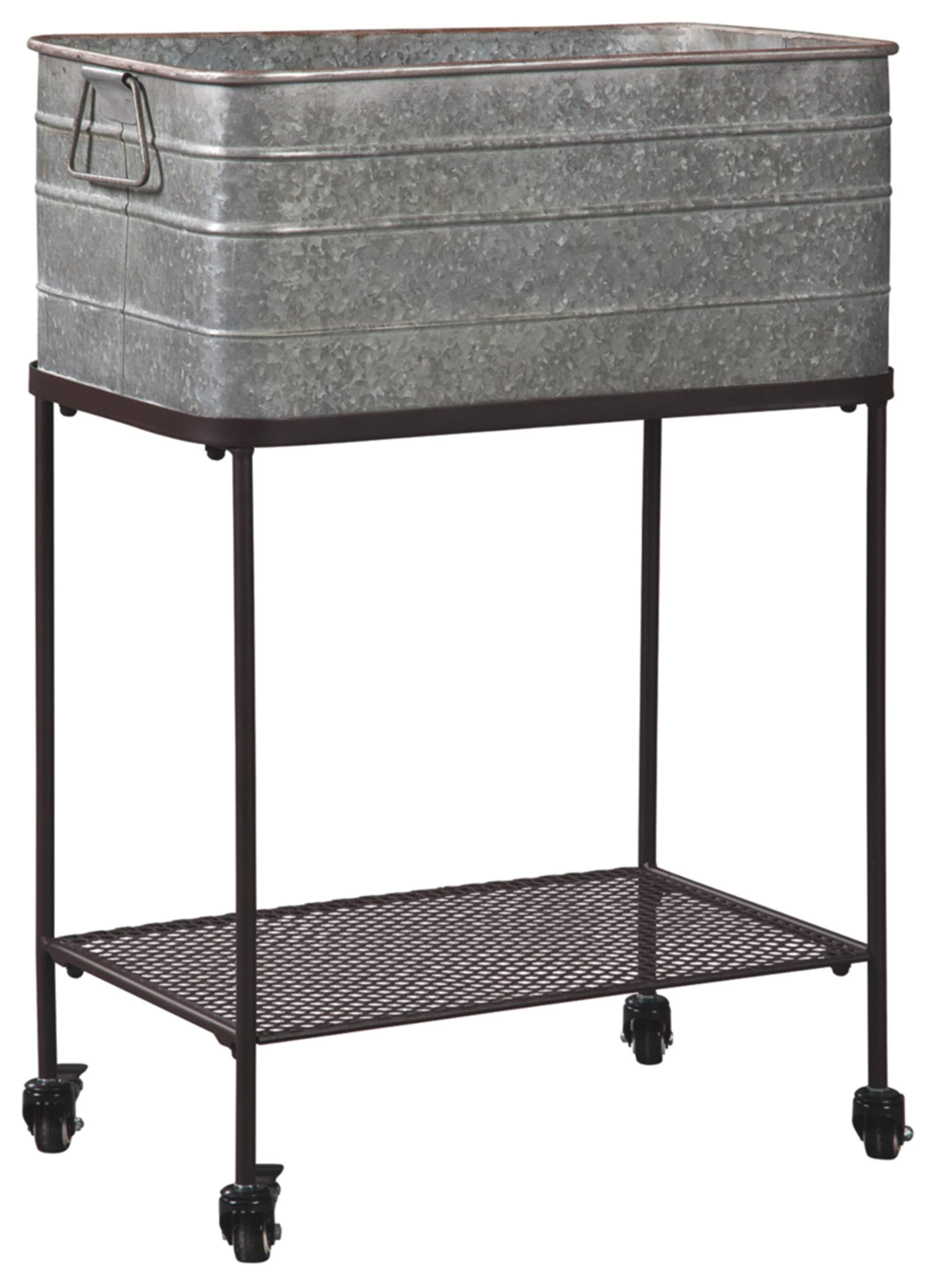 Ashley Furniture Signature Design - Vossman Beverage Tub - Antique Gray/Brown