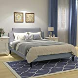 Upholstered Button Tufted Platform Bed with Headboard Strong Wood Slat Support Mattress Foundation Easy Assembly Light…