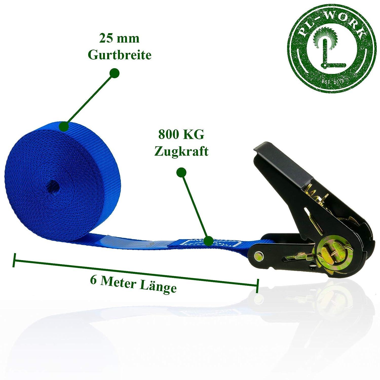 6 m x 25 mm PL-Work Hooks 800 KG High-Quality Tie-Down Ratchet Straps