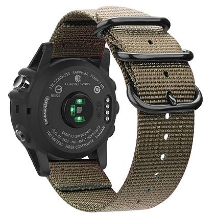 Fintie Band for Garmin Fenix 5X Plus/Tactix Charlie Watch, 26mm Premium Woven Nylon Adjustable Replacement Strap for Fenix 5X/5X Plus/3/3 HR/Tactix ...