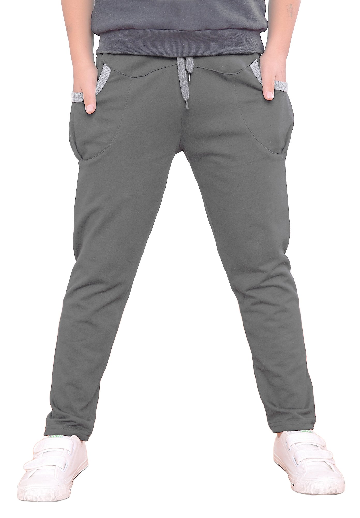 Dasnh Boy's Kids Cotton Slim Fit Adjustable Waist Jogger Pants Trousers With Two Big Pockets,8,Grey A