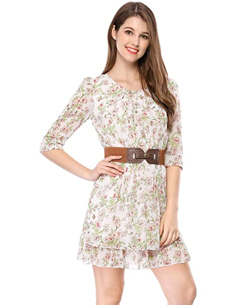 89900495188 Allegra K Women Layered 3 4 Sleeve Casual Floral Short Dresses Green X-Small