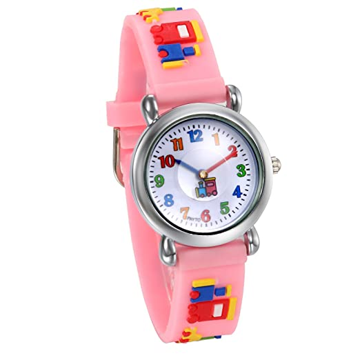 JewelryWe Relojes de Niños Niñas Reloj Deportivo Digital Analogico, Rosa Correa de Silicona con Dibujos Animados Simpaticos Relojes de Infantil, ...