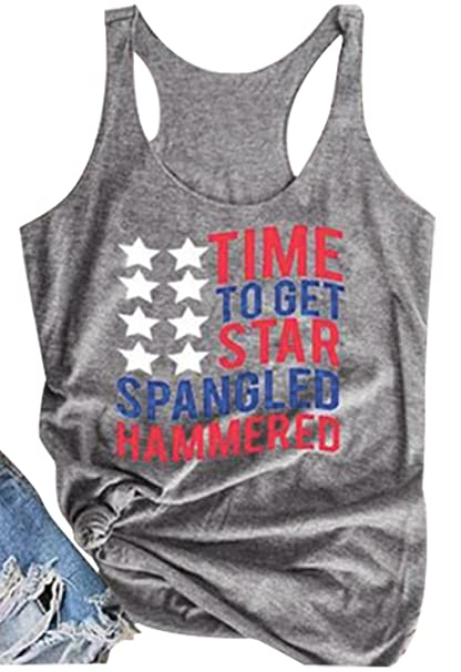 59281af2ca7541 Amazon.com  NATAY Women s American Flag Letter Print Tank Tops Stars  Graphic Casual Vest Tops Racerback Shirt  Clothing