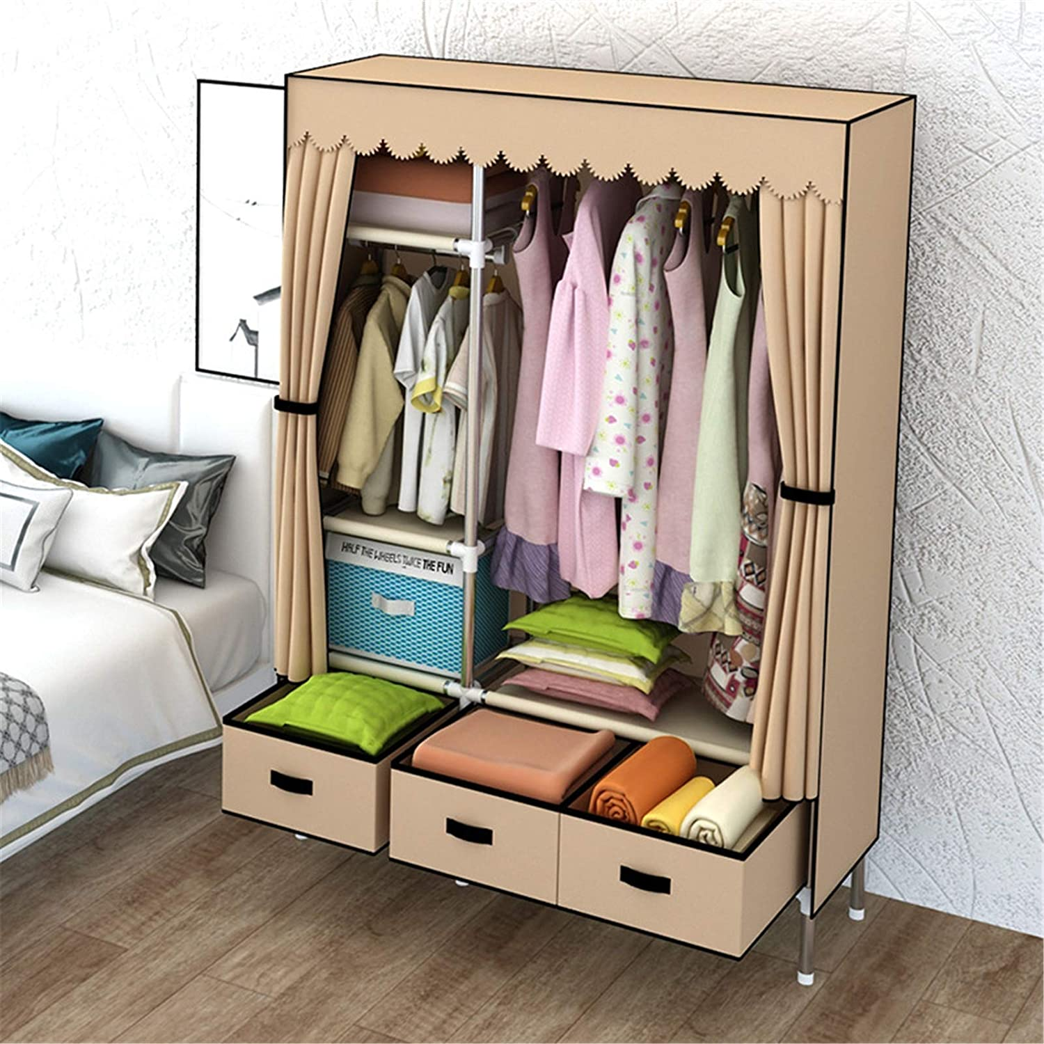 N/Z Home Equipment Canvas Wardrobe Portable Clothes Closet Wardrobe with Hanging Rack Non-Woven Fabric Storage Organizer with Three Drawer Boxes (Color : Khaki Size : 105x168x45cm)