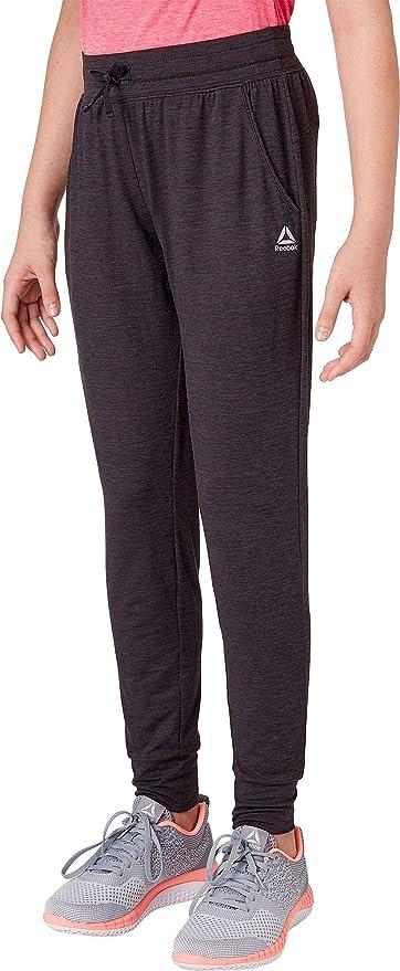 Amazon.com   Reebok Girl s 24 7 Jersey Jogger Pants (HTR Caviar ... 3370ea111