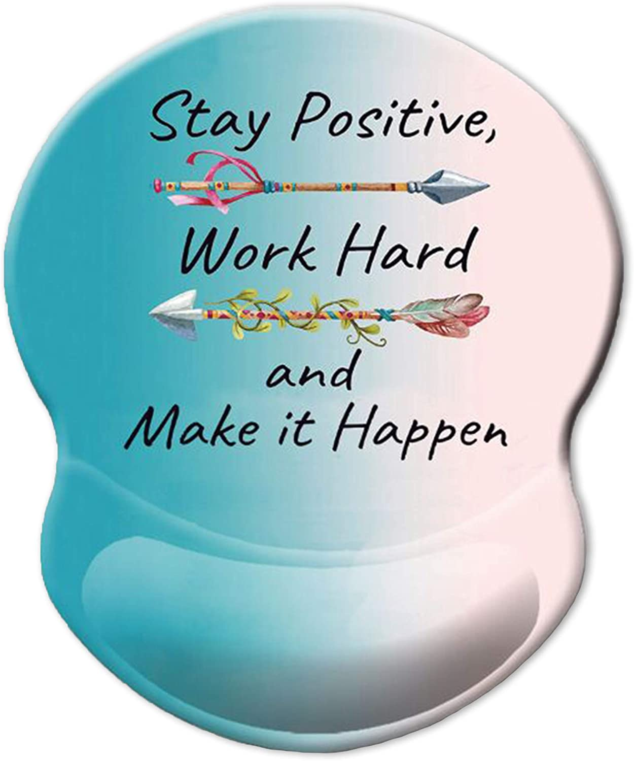 ITNRSIIET Ergonomic Mouse Pad with Gel Wrist Rest Support, Stay Positive Work Hard and Make It Happen Arrow Print Inspirational Quote Cute Mouse Pad, Pain Relief Wrist Rest Pad with Non-Slip PU Base