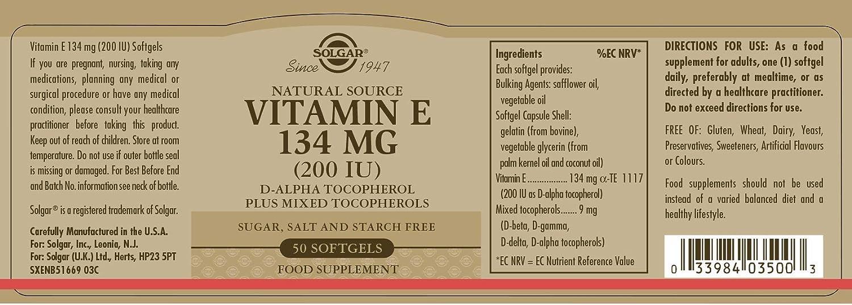 Solgar Vitamina E 134 mg (200 UI) Cápsulas blandas - Envase de 50 ...