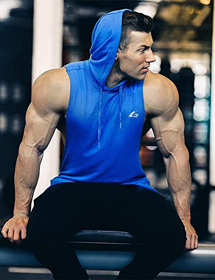 GymRevolution Mens Gym Muscle Fit Longline Quick Dry Sleeveless Hoodies