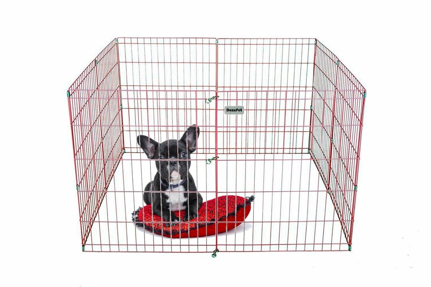DazzPet Dog Pen Puppy Playpen | 30'' Height Indoor Outdoor Exercise Outside Play Yard | Pet Small Animal Puppies Portable Foldable Fence Enclosures | 8 Panel Metal Wire, Pink