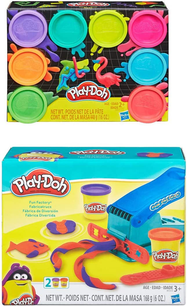 PD Play Doh Fun Factory Basic Set Play Doh 8 Pack Neon Compound Bundle