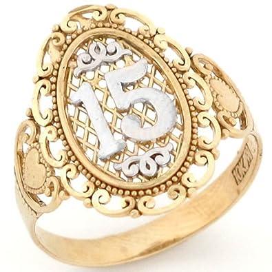 9eb828ba3096 10 K dos tono oro 15 Anos quinceañera anillo de filigrana  Amazon.es   Joyería