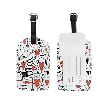 cb65ce1f6839 Amazon.com | Use4 White Cat Kitten Love Heart Luggage Tags Travel ID ...