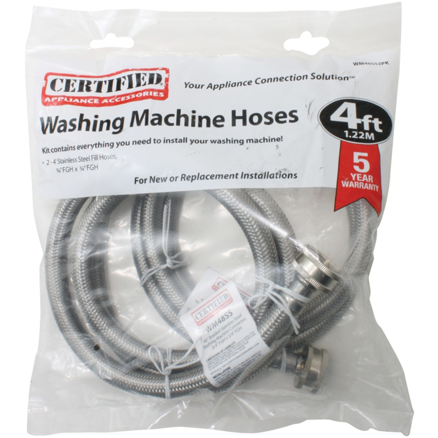 Certified Appliance Accessories 2 pk Braided Stainless Steel Washing Machine Hoses, 4ft