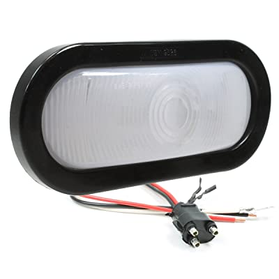 "Vehicle Safety Manufacturing 6054W Clear 6"" Oval Sealed Stop/Tail/Turn Signal Lamp (CLEAR Lens, Grommet, and Harness): Automotive"