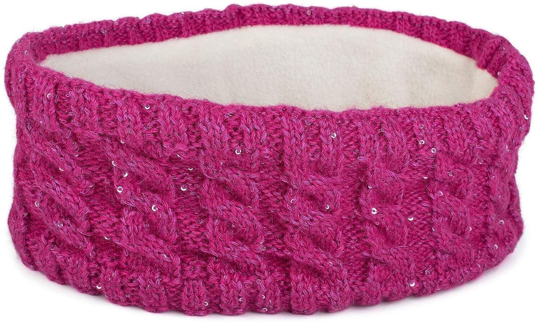 styleBREAKER Damen Strick Stirnband mit Zopfmuster und Pailletten, Fleece Futter, Haarband, Headband 04026028 Farbe:Braun