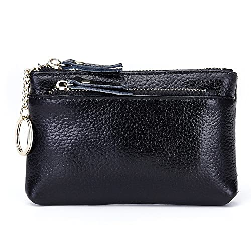 db028e72623a Aladin Leather Coin Purse with Key Chain - Triple Zipper Card Holder Wallet  Black