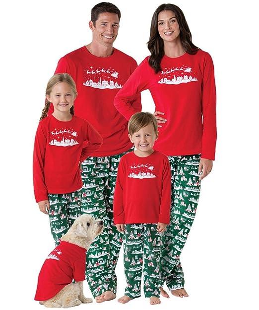 Baonmy Christmas Family Matching Pajamas Red Green Sleepwear Set (Kid 81f847bf3