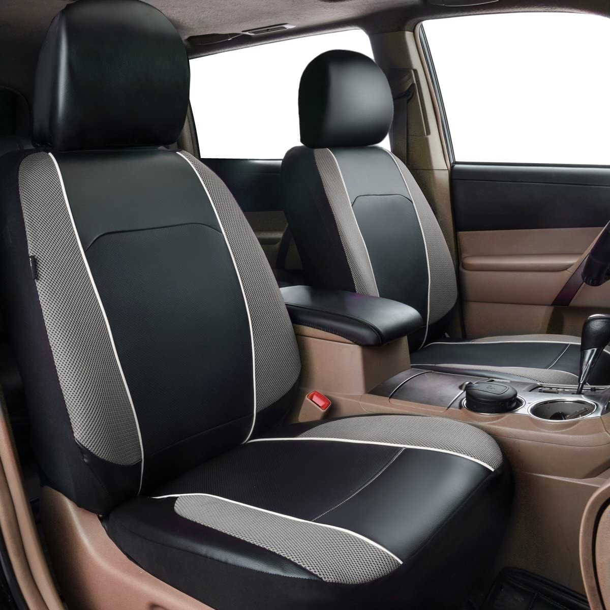 Trucks HORSE KINGDOM Universal Car Seat Covers Faux Leather with Air-mesh Pink for Women Girls Cars Suvs Sedans Aibag Compatible Black with Pink