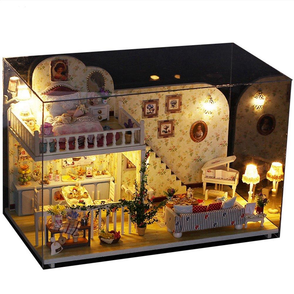 Toyvian Mini Maison Miniature DIY House Kit Éducatif Modèle Assemblage À La Main Pièce Créative avec Meubles (Cabine K-023 à Amsterdam)