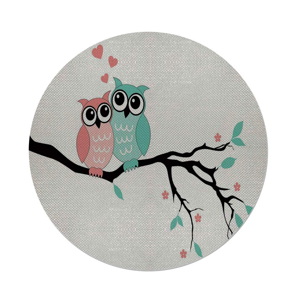 Cotton Linen Round Tablecloth,Teal and White,Cute Owl Couple Sitting on Tree Branch Valentines Romance Love Decorative,Turquoise Coral Black,Dining Room Kitchen Table Cloth Cover