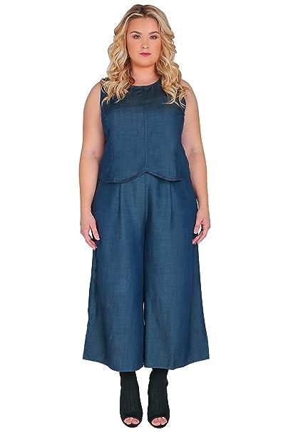 084e3abe066 Standards   Practices Plus Size Modern Womens Indigo Wide Leg Crop Palazzo  Pants Size 1X