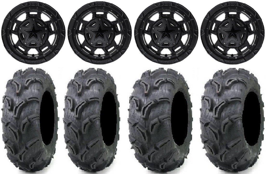 Bundle - 9 Items: XS827 RS3 14'' Wheels 28'' Zilla Tires [4x156 Bolt Pattern 12mmx1.25 Lug kit]