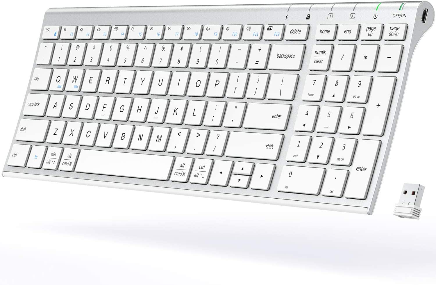 Wireless Keyboard - iClever GKA22S Rechargeable Keyboard with Number Pad, Full-Size Stainless Steel Ultra Slim Keyboard, 2.4G Stable Connection Wireless Keyboard for iMac, Mackbook, PC, Laptop