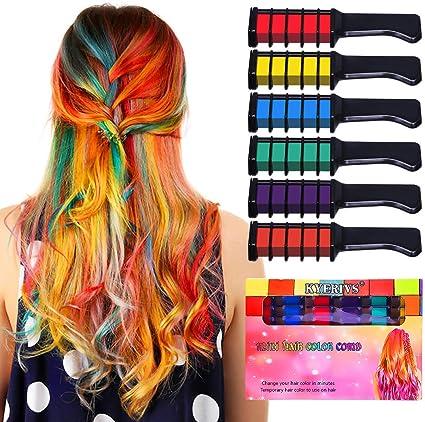 Kyerivs - Peine de tiza de pelo temporal, tinte de color para niños, niñas, fiestas, cosplay, bricolaje, festival, vestido, funciona en todos los ...