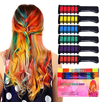 Kyerivs Hair Chalk Comb Temporary Hair Color Dye For Kid Girls Party and  Cosplay DIY Festival Dress up Works...