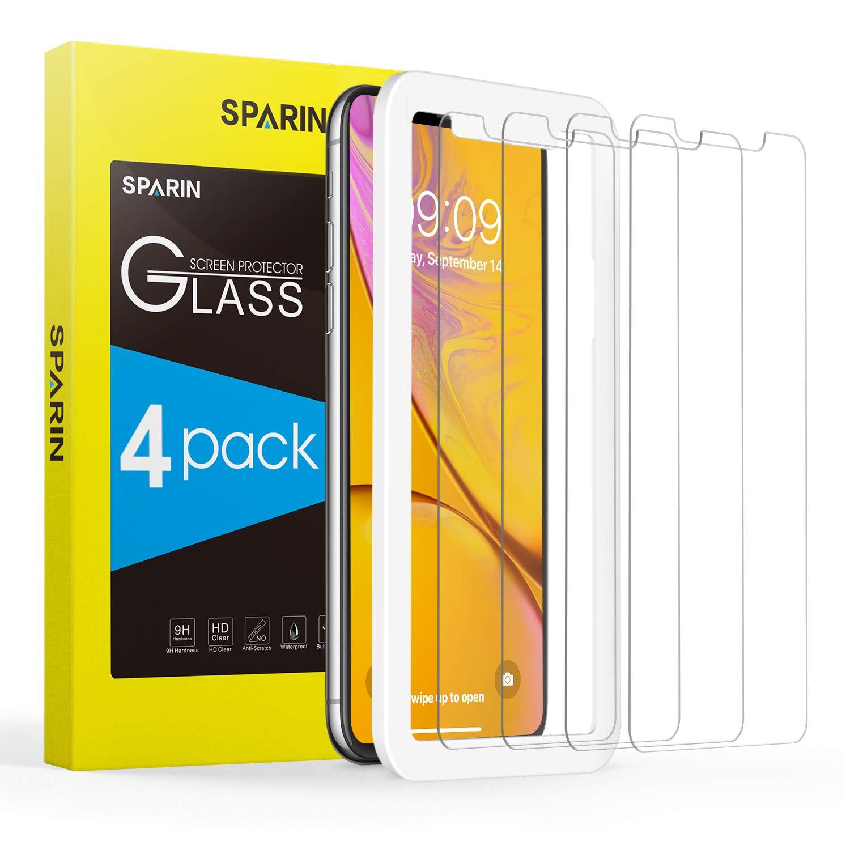 SPARIN [4-Pack Cristal Templado iPhone XR, Protector Pantalla iPhone XR Vidrio Templado con [2.5d Borde Redondo] [9H Dureza] [Alta Definicion] para iPhone ...