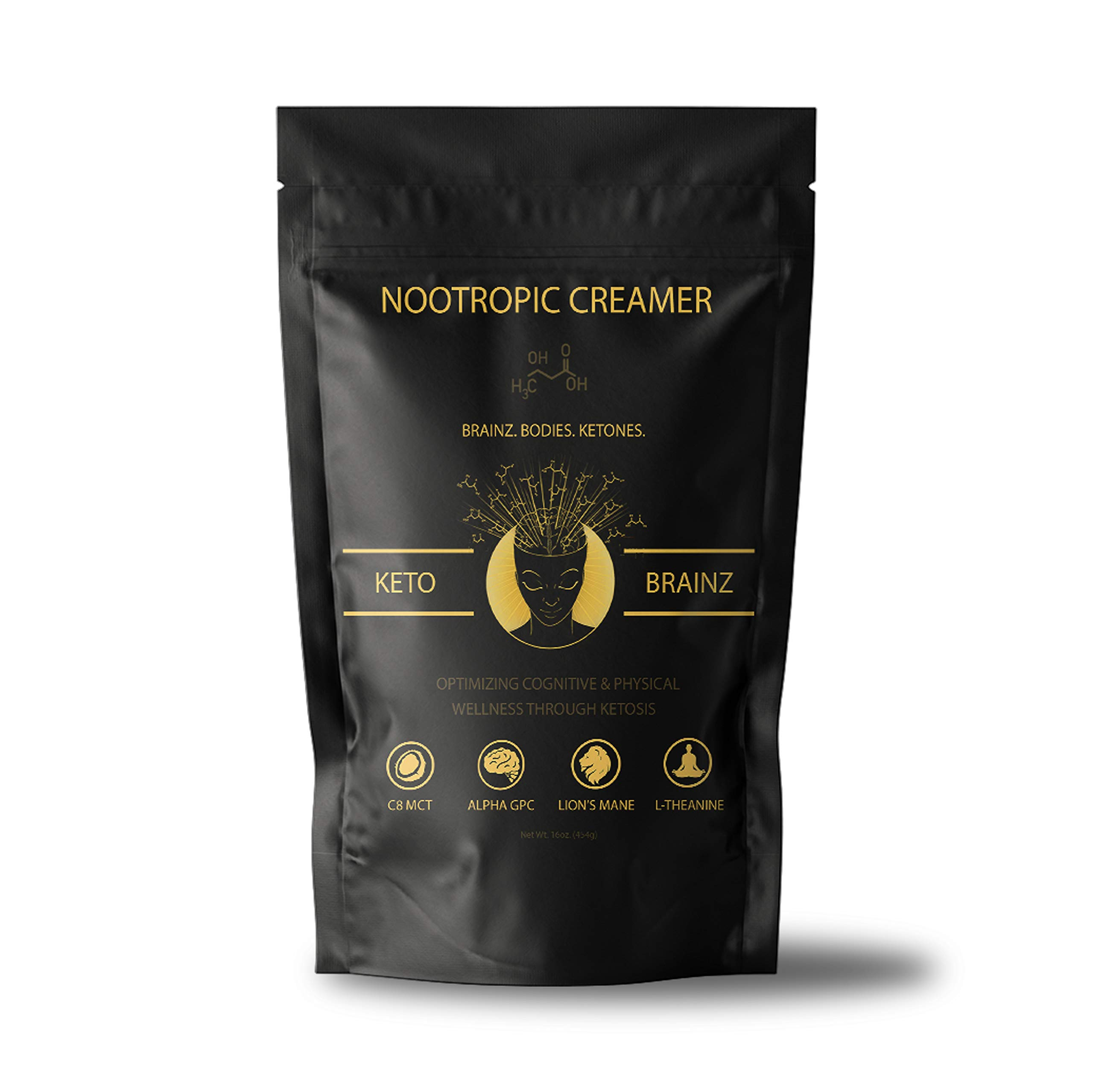 Keto Brainz C8 MCT based Nootropic Keto Creamer - With Lion's Mane, AlphaGPC & L-Theanine this is the ultimate nootropic ketogenic stack! 16oz. 30 Servings by Keto Brainz