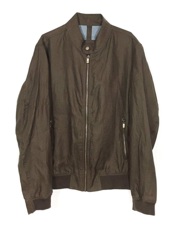 72945a9e8 Massimo Dutti Men 100% Linen Bomber Jacket 3472/091 at Amazon Men's ...