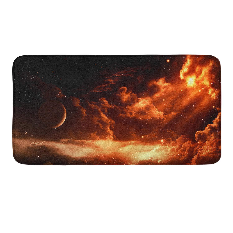 CIGOCI Anti-Slip Memory Foam Bath Mat Shower Rugs - Earth Universe Galaxy - 18 x 36 Inch Absorbent Quick-Dry Floor Mat Carpets Home Decor Bathroom Tub Kichen Rugs