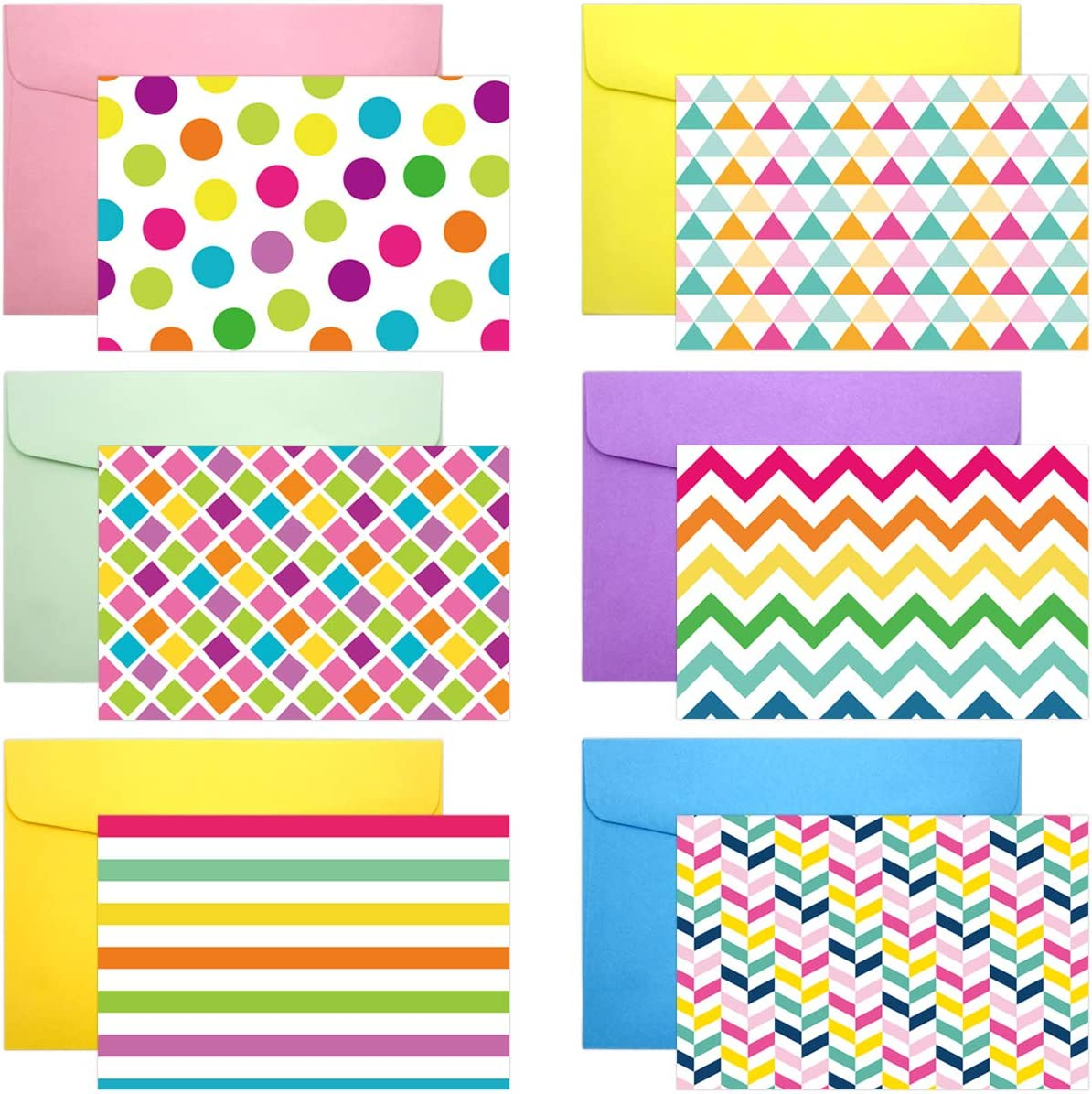 36 Colorful Greeting Cards Bright Pattern Note Cards with Colored Envelopes Stickers Blank Inside Cards Office School Home Kids
