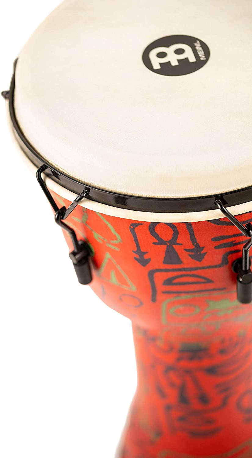 Meinl Percussion Travel Djembe with Synthetic Shell-NOT Made in CHINA-14 Extra Large Size Mechanically Tuned Goat Skin Head 14 Pharaohs Script XL PMDJ1-XL-G 2-Year Warranty