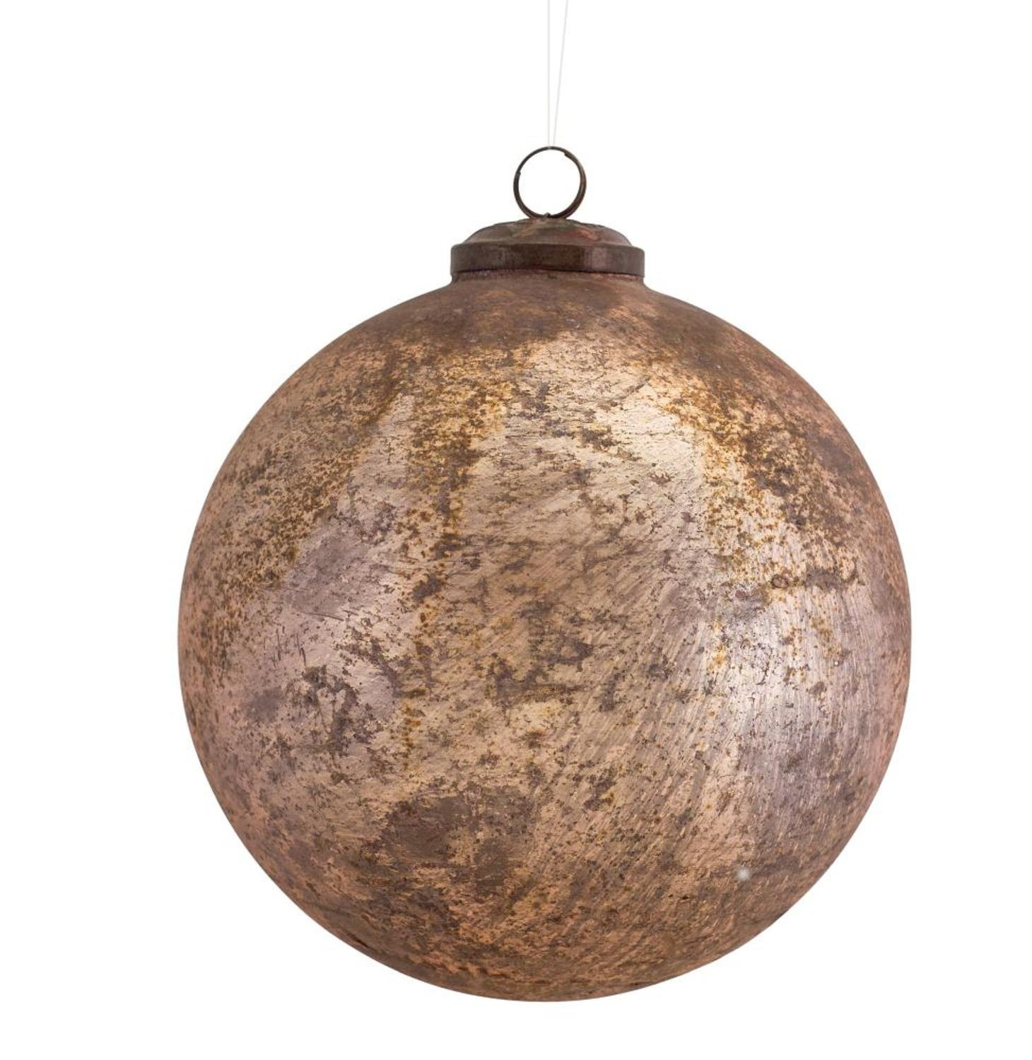 Diva At Home Set of 6 Metallic Rose Gold Distressed Glass Decorative Christmas Ball Ornaments 5''