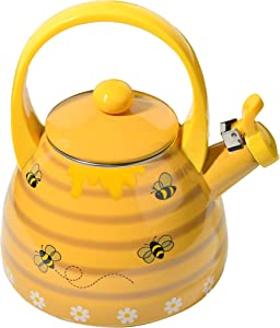 Home-X – Honey Bee Tea Kettle, 2.4 Quart Whistling Tea Kettle for Gas Top or Electric Stoves, The Perfect Addition to Any Kitchen